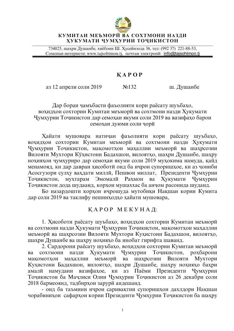 ҚАРОР аз 12 апрели соли 2019  №132  ш. Душанбе