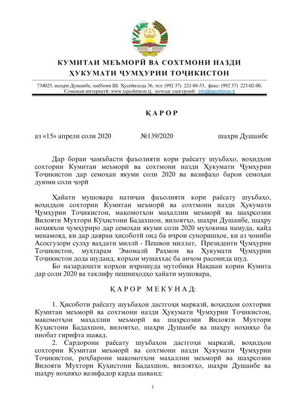 ҚАРОР  аз «15» апрели соли 2020                 №139/2020                          шаҳри Душанбе